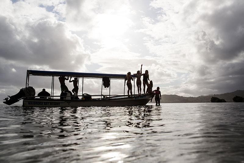 shesurfs.com.au - Mikala Wilbow - lifestyle photographer - fiji girls surf trip - sunset silhouette