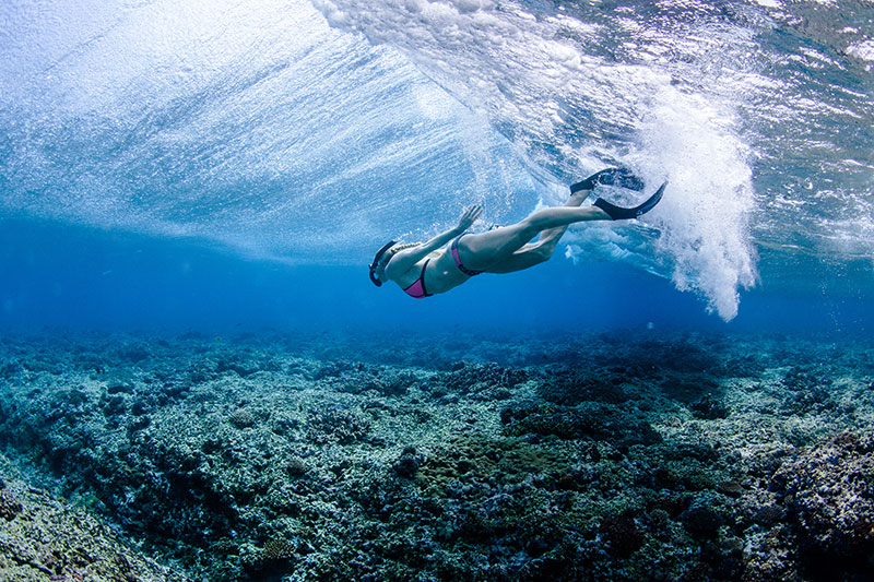 shesurfs.com.au - Mikala Wilbow - lifestyle photographer - fiji girls surf trip - swimming underwater fiji